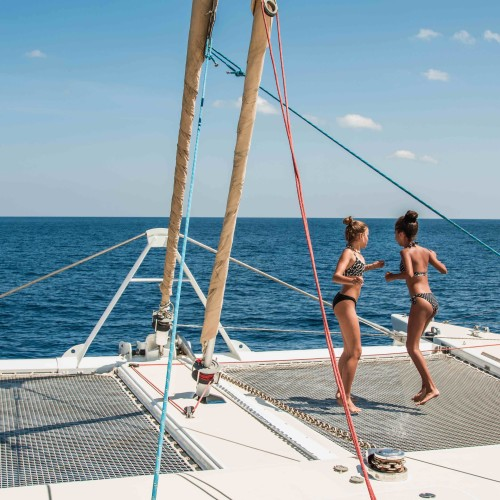 Guests can enjoy over 2500 square feet of uncluttered deck space. The decks are scattered with over-stuffed sun cushions so guests can relax under the shade of the bimini, or in the warm tropical sun on the foredeck!